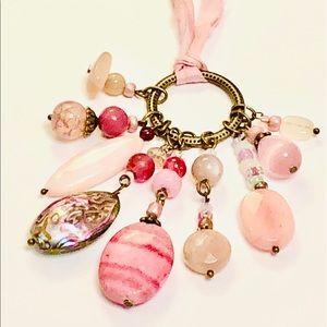 Silk Sari Ribbon Pastel Pink Assemblage Necklace